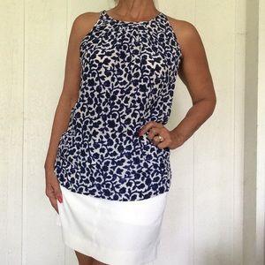 CYNTHIA ROWLEY 1OO% SILK BLUE FLORAL HALTER TOP M